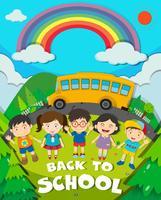 Tillbaka till skolatemat med skolbuss och barn