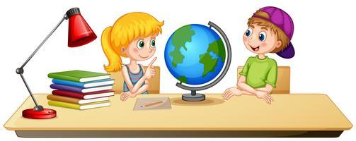 Jungen und Mädchen auf dem Tisch vektor