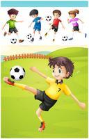 Kinder, die Fußball auf dem Rasen spielen vektor