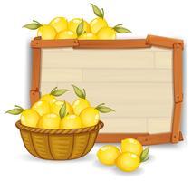 Zitrone auf Holzbrett vektor
