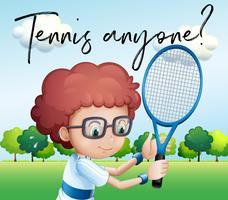 Kleiner Junge mit Tennisschläger und Satztennis jedermann vektor
