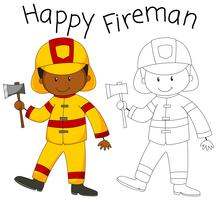 Glücklicher Feuerwehrmann mit einer Axt vektor