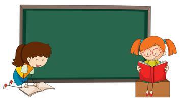 Doodle flickor läser bok på blackboardmall vektor