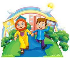 Muslimska par håller händer vektor