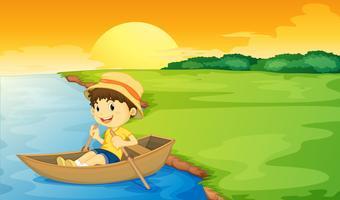 Pojke i en båt vektor