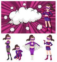 Sats av kvinna superhjälte vektor