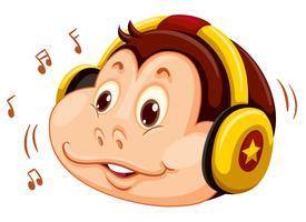 Monkey head lyssnar på musik vektor