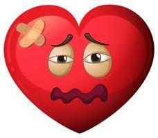 Ein Herzcharakter mit Schmerzen vektor