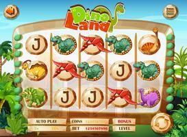 Slot-Spielvorlage mit Dinosaurier-Figuren vektor