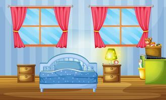 Sovrum med blå säng och tapeter