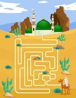 Labyrinthspielschablone mit Moscheenhintergrund vektor