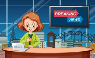 En kvinnlig nyhetsreporter vektor