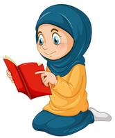 En muslimsk tjej studerar qur'an vektor
