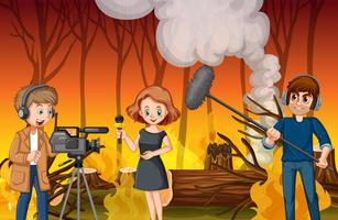 Journalisten berichten über ein Lauffeuer vektor