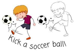 Doodle pojken sparkar en fotboll boll vektor