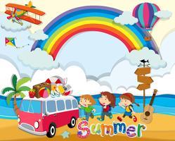Sommerthema mit Kindern und Kleinbus vektor