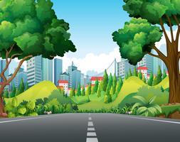 Szene mit Straße in die Stadt vektor