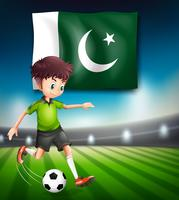 Pakistan Flagge und Fußballspieler