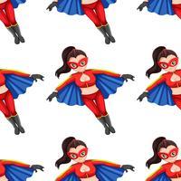 Kvinna super hjälte sömlöst mönster