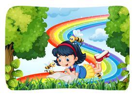 Mädchenlesung in der Natur mit Regenbogen vektor