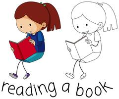 Doodle girl läsning bok vektor