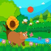 Björn och bin i skogen vektor