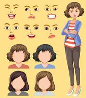 Sats av kvinnligt huvud och ansiktsuttryck vektor