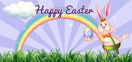 Påskfestival med påskhäst som håller ägg