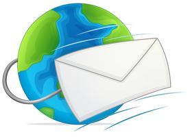 Ett mail på jordens logotyp vektor
