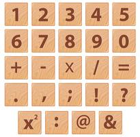 Hölzerne Zahl Font-Symbol vektor
