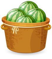 En korg med vattenmelon