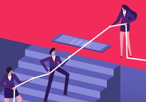 Manager Leading Team To Success-Vektor-flache Illustration vektor