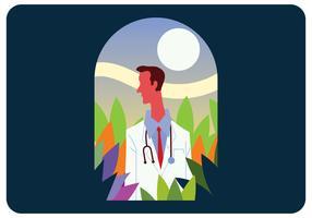 Man Doctor Potrait Design Vector