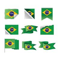 Brasilien-Flagge und Farbband eingestellt vektor