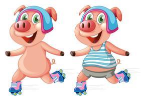Schweine spielen Rollschuh vektor