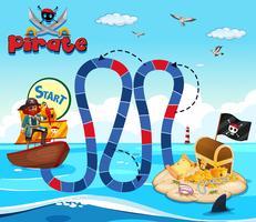 Boardgame-Vorlage mit Piraten- und Schatzinsel vektor