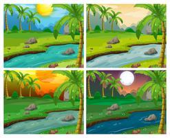Flodscener på fyra olika tider