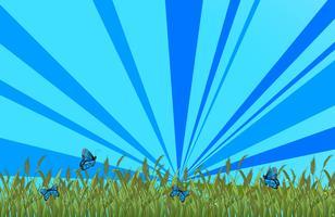 Ein Garten mit blauen Schmetterlingen