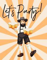 Man med glas öl med fras låt oss festa vektor
