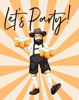 Mann mit Gläsern Bier mit Phrase lassen Sie uns Partei