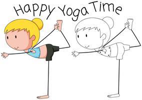Doodle tjej gör yoga