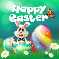 Glückliches Ostern-Plakat mit Häschen und Eiern vektor