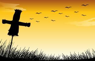 Silhouette Vogelscheuche vektor