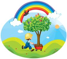 Junge, der Baum trägt