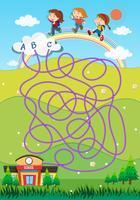 Spielvorlage mit Studenten und Schulhintergrund vektor