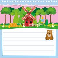Papierdesign mit Bär und Bauernhof vektor