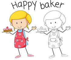 Eine glückliche Bäckerfigur vektor