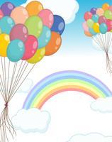 Bakgrundsscen med ballonger i himlen vektor