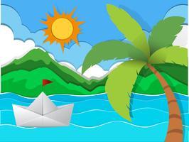 Papper båt flytande i havet vektor