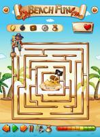 Pirat strand labyrint pusselspel vektor